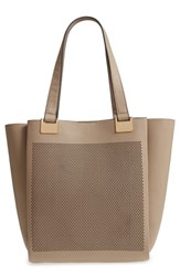 Vince Camuto Beatt Perforated Leather Tote Beige Kangaroo Sushi
