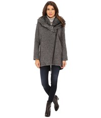 Vince Camuto Fur Hood Sweater Coat J8241 Grey Women's Sweater Gray