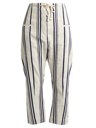 Joseph Ombria Striped Cotton And Linen Blend Trousers Blue Stripe