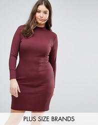 Pink Clove High Neck Bodycon Midi Dress Purple