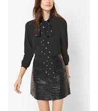 Grommet Embellished Tie Neck Blouse Black