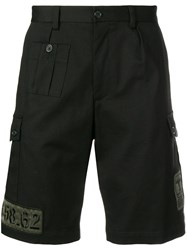 Dolce And Gabbana Patch Detail Shorts Black