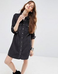 Asos Cord Charcoal Western Shirt Dress In Grey Grey