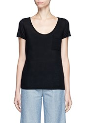 Crush Collection Cashmere Short Sleeve Pocket Sweater Black