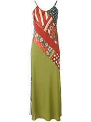Jean Paul Gaultier Vintage Patchwork Slip Dress Green