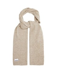 Ganni Ribbed Lambswool Blend Scarf Cream
