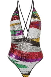 Missoni Mare Striped Sequined Swimsuit Black