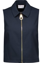 Tanya Taylor Quinn Cropped Cotton Twill Top Midnight Blue