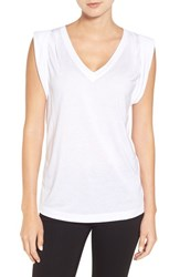 Trouve Women's Shoulder Pleat Sleeveless Tee White