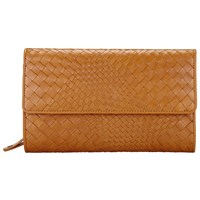 John Lewis Collection Weekend By Rosa Weave Leather Extra Large Flap Purse Tan