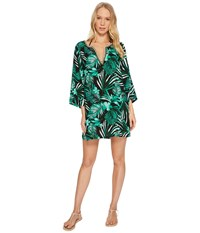 Jantzen Leafy Tropical Crochet Trim Tunic Cover Up Black Women's Swimwear