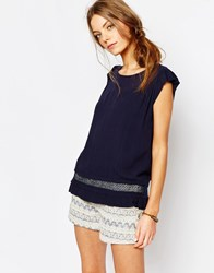 Suncoo Shortsleeve Button Back Blouse In Blue 03 Bleu Nuit
