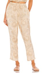 Amuse Society Freda Woven Pant In Beige. Off White