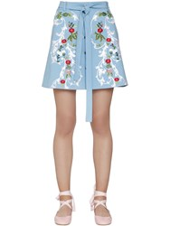 Vivetta Embroidered Stretch Cotton Mini Skirt