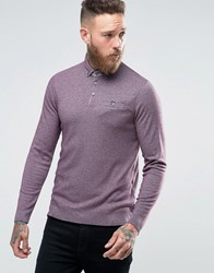 Ted Baker Longsleeve Knitted Polo 65 Purple Red