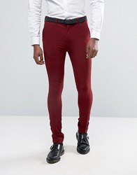 Rogues Of London Super Skinny Suit Trousers Plum Red