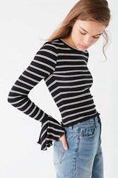 Urban Outfitters Uo Perry Bell Sleeve Tee Black Multi