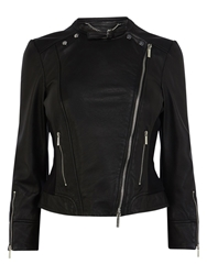 Karen Millen Italian Leather Biker Jacket Black
