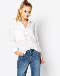 Daisy Street Relaxed Shirt With Pockets White