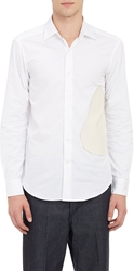 Loewe Faux Leather Patch Poplin Dress Shirt White