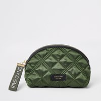 River Island Khaki Quilted Make Up Bag