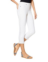 Hue Raw Fringe Cropped Denim Pant White