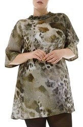 Elvi Plus Size Women's Animal Print Shirt Dress
