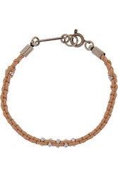 Isabel Marant Kutztown Braided Leather And Silver Tone Bracelet Nude