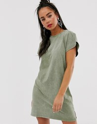 Bershka T Shirt Dress In Khaki Green