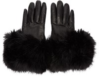 Calvin Klein Black Leather Flared Gloves