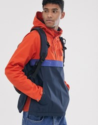 Element Barrow 3 Tone Overhead Windbreaker Jacket In Orange Navy Multi