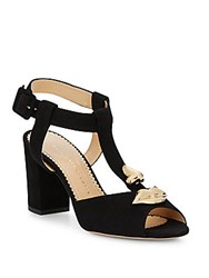 Charlotte Olympia Gala Suede T Strap Sandals Black