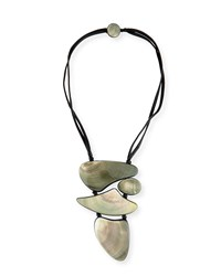 Viktoria Hayman Freeform Mother Of Pearl Pendant Necklace Black
