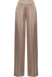 Cushnie Et Ochs Pleated Silk Charmeuse Wide Leg Pants Taupe