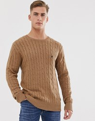 French Connection 100 Cotton Logo Cable Knit Jumper Tan