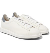 Brunello Cucinelli Icaras Nubuck Trimmed Grained Leather Sneakers White