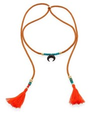 Lizzie Fortunato Sand Twist Horn And Turquoise Tassel Cord Necklace Sand Multi