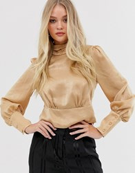 Y.A.S High Neck Blouse With Volume Sleeve Gold