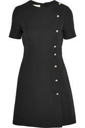 Gucci Faux Pearl Embellished Wool And Silk Blend Mini Dress Black