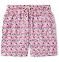 Faherty Beacon Long Length Printed Swim Shorts Red