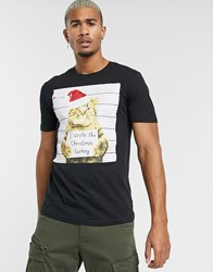 Only And Sons Christmas Graphic T Shirt In Black