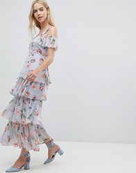Walter Baker Floral Print Tiered Maxi Dress Blue
