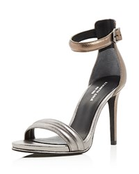 Kenneth Cole Brooke Metallic Ankle Strap High Heel Sandals Anthracite
