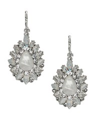 Marchesa Rhodium Opal Silver Plated Cluster Drop Earrings