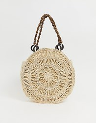 Stradivarius Large Straw Bag With Wooden Handle In Beige
