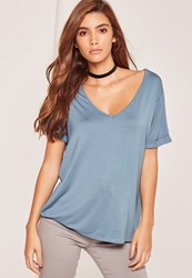 Missguided Petite V Neck Boyfriend T Shirt Blue Grey