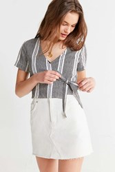 Urban Outfitters Uo Striped Wrap Cropped Top Black White