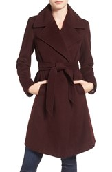 Diane Von Furstenberg Women's Wool Blend Wrap Coat Bordeaux