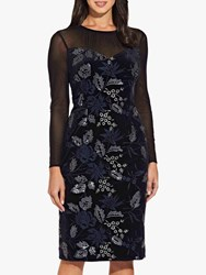 Adrianna Papell Natalia Floral Lace Dress Black Navy