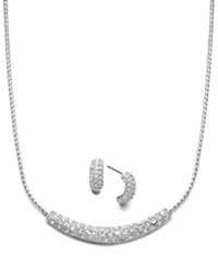 Charter Club Silver Tone Clear Pave Glass Necklace And Earrings Jewelry Set
